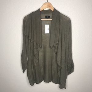 Aqua Women's linen cardigan olive 3/4 sleeve M new